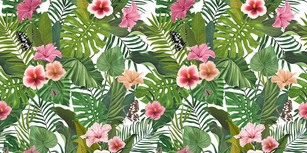 ハイビスカスの花と葉とシームレスな熱帯のパターン