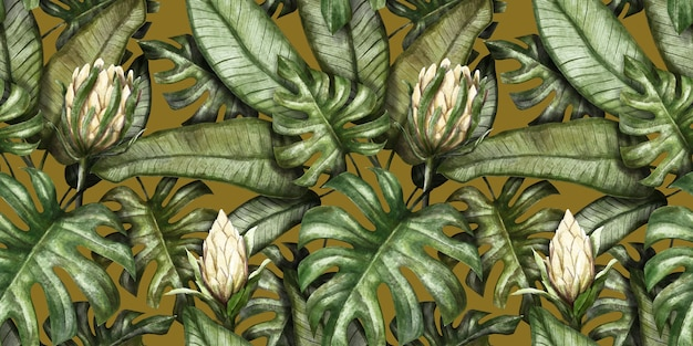Seamless tropical pattern with protea flowers palm leaves monstera colocasia banana leaves