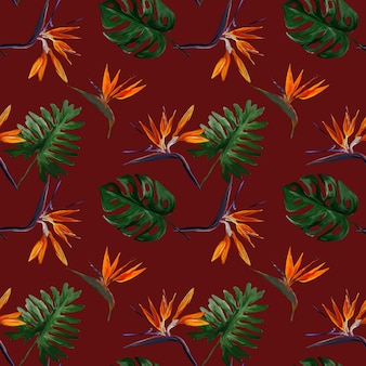 赤い背景の葉とstrelitziaとシームレスな熱帯のパターン。サトイモ、フィロデンドロン、モンステラのカラフルな葉とのシームレスなパターン。エキゾチックな壁紙。ハワイアンスタイル。