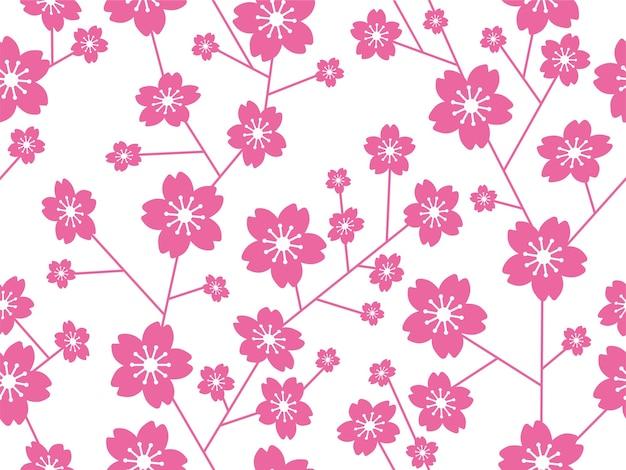 원활한 벡터 벚꽃 꽃 패턴 가로 및 세로 반복 흰색 배경에 고립