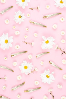Seamless veronica and white flower pattern on pink background