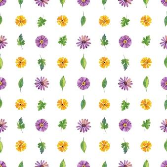 紫と黄色の花の水彩画とシームレスな壁紙