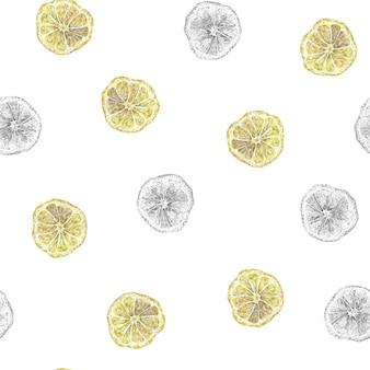 흰색 바탕에 노란색 레몬 반 레몬 패턴이 있는 원활한 수채화 및 연필 패턴