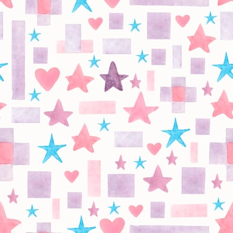 Seamless watercolor hand painted stars
