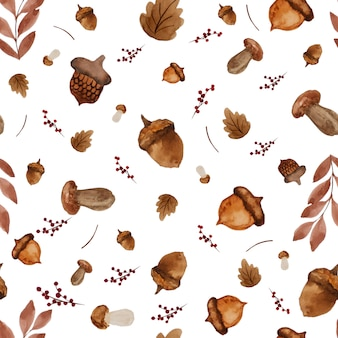 Seamless watercolor paint background of dry leaves and mushrooms