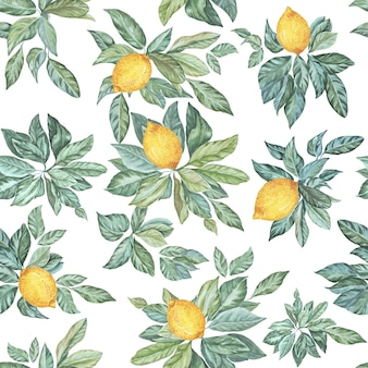 Seamless watercolor pattern leaves and lemon on a white background
