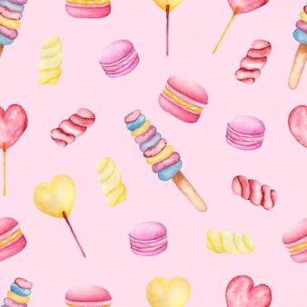 Бесшовные акварель ручной росписью сладостей и вкусных миндальное печенье