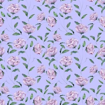 青い背景にライラック牡丹の花のシームレスな水彩パターン