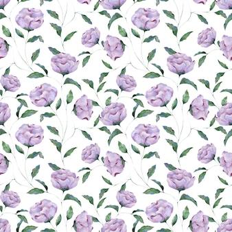 白い背景のライラック牡丹の花のシームレスな水彩パターン