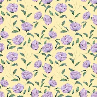 黄色の背景にライラック牡丹の花のシームレスな水彩パターン