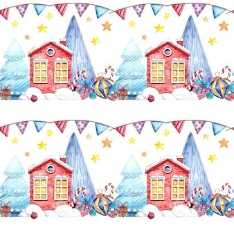白い背景の上のクリスマスの家、クリスマスツリー、ギフト、お菓子とのシームレスな水彩パターン