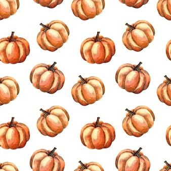 白い背景の上のオレンジ色のカボチャとシームレスな水彩パターン、野菜と水彩イラスト