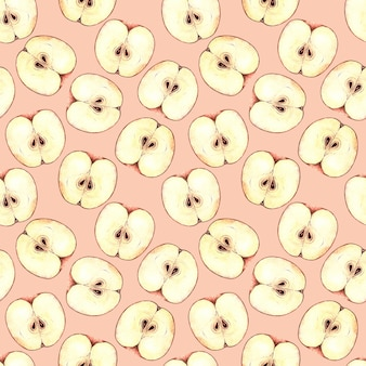 Seamless watercolor pattern with apple slices, watercolor painting on a pink background.