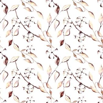 秋の紅葉ドライフラワーと綿の花とのシームレスな水彩パターン