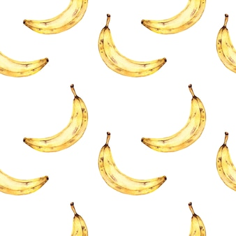 바나나와 원활한 수채화 패턴, 열 대 과일과 흰색 배경에 수채화 그림.