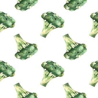 白い背景の上の大きなブロッコリー、野菜のイラストとシームレスな水彩パターン