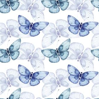 白い背景の上の青い抽象的な大きな蝶とのシームレスな水彩パターン