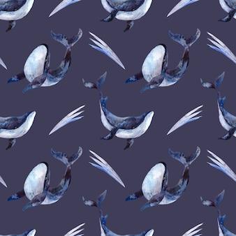 青い背景にシロナガスクジラとのシームレスな水彩パターン、海洋をテーマにした水彩イラスト