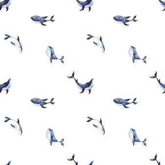白い背景にシロナガスクジラとのシームレスな水彩パターン、海洋をテーマにした水彩イラスト