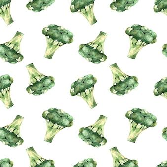 白い背景の上のブロッコリー、野菜のイラストとシームレスな水彩パターン