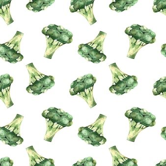 Seamless watercolor pattern with broccoli on a white background, illustration with vegetables