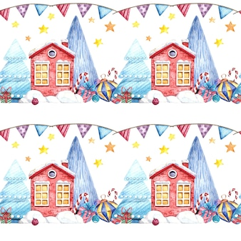 Seamless watercolor pattern with a christmas house, christmas tree, gifts, and sweets on a white background