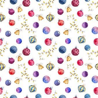 クリスマスのおもちゃや装飾、白い背景の水彩画とのシームレスな水彩画パターン