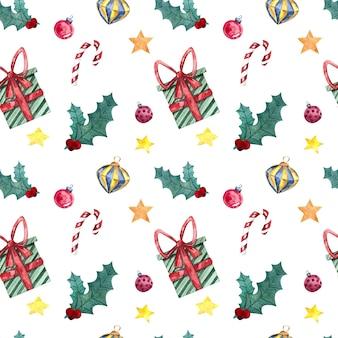 クリスマスのおもちゃ、装飾、お菓子、白い背景の水彩画とのシームレスな水彩画パターン