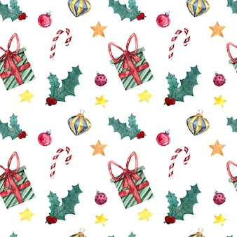 Seamless watercolor pattern with christmas toys, decorations, and sweets, watercolor painting on a white background