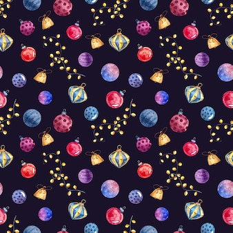 Seamless watercolor pattern with christmas toys and decorations, watercolor painting on a dark background