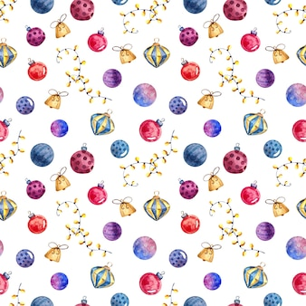 Seamless watercolor pattern with christmas toys and decorations, watercolor painting on a  white background