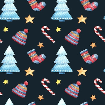 Seamless watercolor pattern with christmas tree, socks, hat and stars on a dark background