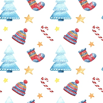 Seamless watercolor pattern with christmas tree, socks, hat and stars on a white background