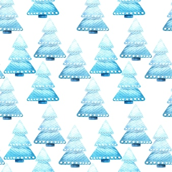 Seamless watercolor pattern with christmas trees