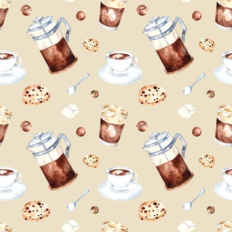 Бесшовный акварельный образец с кофейными зернами, французской прессой и печеньем на цветном фоне. акварельные иллюстрации для упаковки, кафе, магазинов, меню, тканей.