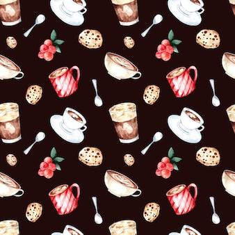 コーヒー豆、フレンチプレス、色付きの背景にクッキーとのシームレスな水彩パターン。