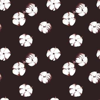 白い綿の色と小枝、暗い背景に乾燥した葉とのシームレスな水彩パターン