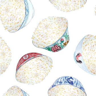 Seamless watercolor pattern with colored bowls of rice on it.
