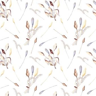 ドライフラワーとベージュと白い背景の上の乾燥した葉の色の小枝とのシームレスな水彩パターン