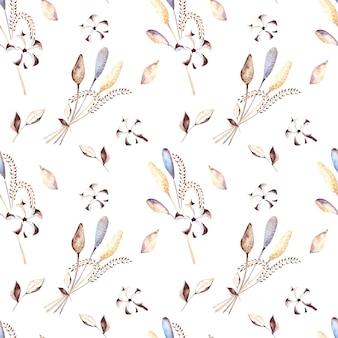 白い背景の上に綿の花、ドライフラワー、ベージュの葉とのシームレスな水彩パターン