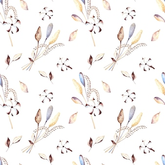 Seamless watercolor pattern with cotton flowers, dried flowers and beige leaves on a white background