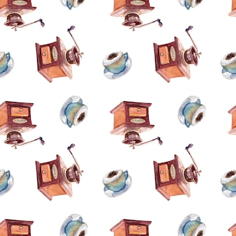 Seamless watercolor pattern with cups of coffee and coffee grinder.