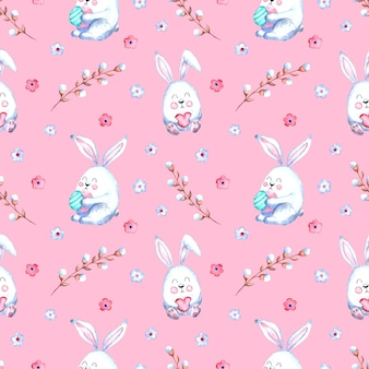 Seamless watercolor pattern with easter bunnies, willow twigs, flowers on a colored background.