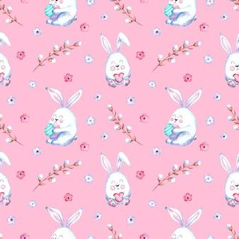 Бесшовный акварельный образец с пасхальными кроликами, веточками ивы, цветами на цветном фоне.