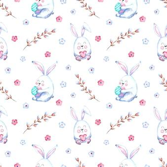 Бесшовный акварельный образец с пасхальными кроликами, веточками ивы, цветами на белом фоне.