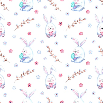 Seamless watercolor pattern with easter bunnies, willow twigs, flowers on a white background.