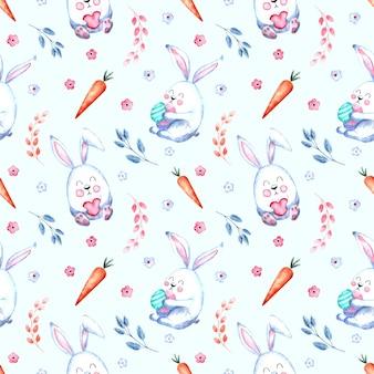 Бесшовный акварельный образец с пасхальными кроликами с морковью, веточками ивы, цветами на белом фоне