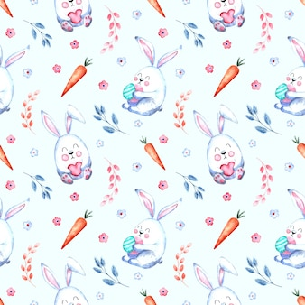 Seamless watercolor pattern with easter bunnies with carrots, willow twigs, flowers on a white background,
