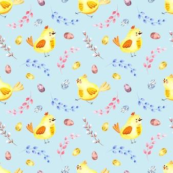 色付きの背景にイースターチキン、柳の小枝、イースターエッグとのシームレスな水彩パターン。