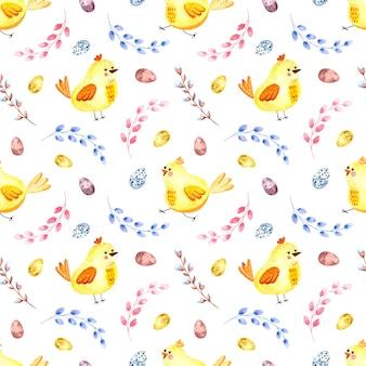 白い背景の上のイースター鶏、柳の小枝、イースターエッグとのシームレスな水彩画パターン。